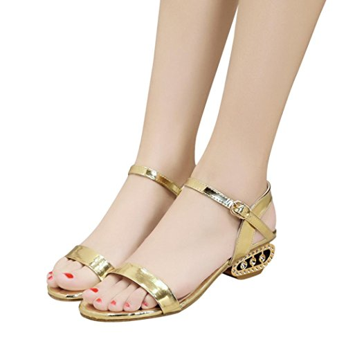 HLHN Women Sandals, Ankle Buckle Strap Block Heel Mid Heel Open Toe Shoes Casual Party Lady Gold
