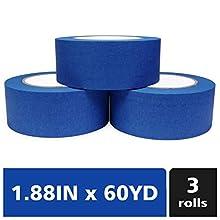 Bligo Blue Painters Tape, Medium Adhesive, for Masking, Painting, Painter's Supplies Bulk, Prevent Paint Bleed, 1.88 Inch x 60 Yard, 3 Rolls