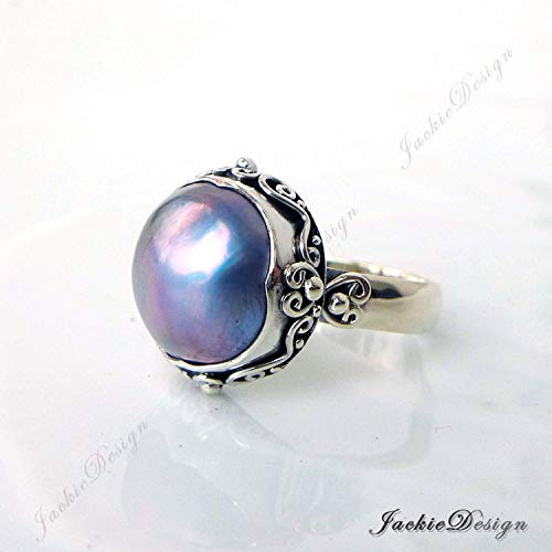 Purple Grey Mabe Pearl Ring Size 7 Bali Sterling Silver JD220