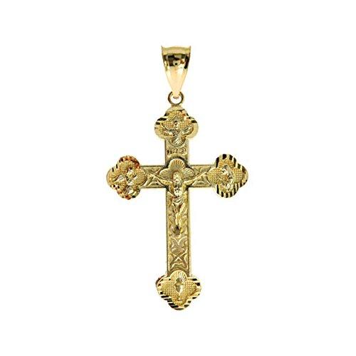 10K Yellow Gold 2.25'' (Inch) Crucifix Religious Jesus Cross Charm Pendant by Traxnyc