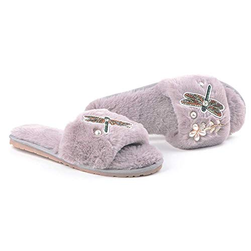 Ghssheh Embroider Dragonfly Fur Sandals Women Pearl Beading Flower Home Slippers Crystal Gold Leaves Flip Flops Grey 7 M US ()