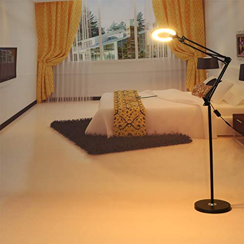 Wheatness 4-in-1 LED Magnifying Glass Floor Lamp with Clamp, White/Warm White Lighted - Full Spectrum Magnifier Lens - Adjustable Stand & Swivel Arm Light for Reading, Craft, Professional Task