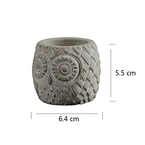 Silicone Mold for Concrete Flowerpot Mould Round with Owl Pattern Handmade Craft Cement Vase Tool