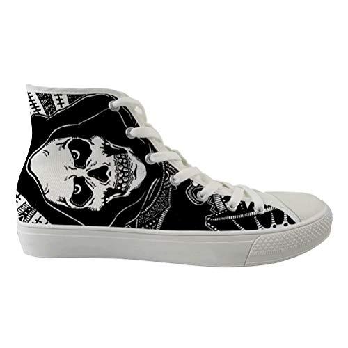 - Dellukee Women Men Walking Shoes White High Top Skull Canvas Fitness Fashion Sneakers