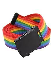 Classic Black Men's Military Slider Belt Buckle with Canvas Web Belt Medium Rainbow