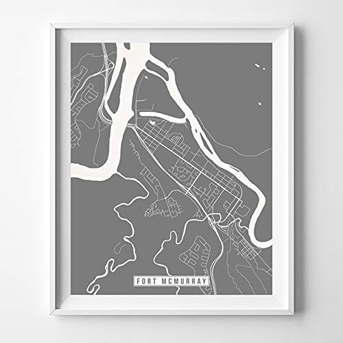 Fort McMurray Canada City Street Map Wall Art Home Decor Poster Urban City Hometown Road Print - 70 Color Choices - -