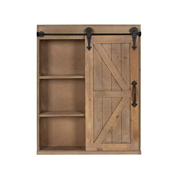 Kate and Laurel Cates Wood Wall Storage Cabinet with Vanity Mirror and Sliding Barn Door, Rustic Brown