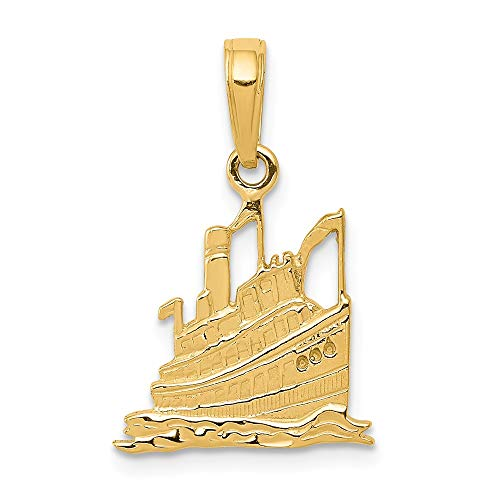 - 14k Yellow Gold Cruise Ship Pendant Charm Necklace Sea Shore Boating Man Fine Jewelry Gift For Dad Mens For Him