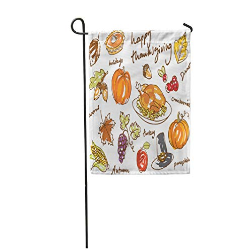 (Semtomn Garden Flag Colorful Food Thanksgiving Doodle Turkey Fall Acorn Cranberry Pie 12
