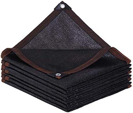 HUYYA 95%日焼け止め シェード 布 ネット、シェーディングネット ミシン目付き 遮光日よけネット 強化エッジ オーニングシェード 角補強 テラス用,Black_3x8m/9x24ft