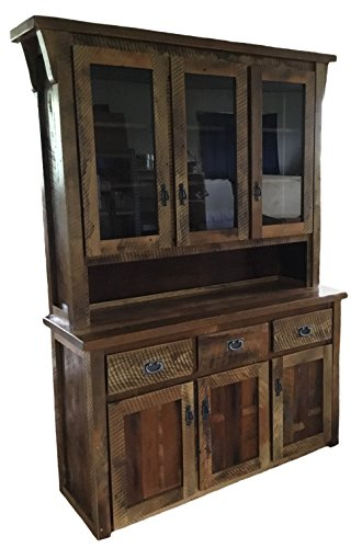 Barnwood 3 Door Hutch/China Cabinet - Amish Made in The USA