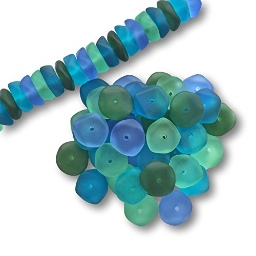 Sea Glass Beads Assortment – Set of 50 – Blues and Greens Mix 122 – Size 15mm – Center Drilled - Recycled Glass – Frosted Beach Glass Beads - 50 - Sea Glasses