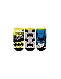 DC Comics Boys Batman Face 3-Pack Ankle Socks