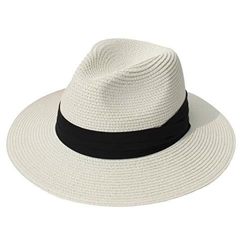 DRESHOW Women Straw Panama Hat Fedora Beach Sun Hat Wide Brim Straw Roll up Hat UPF 30+ (Ivory)