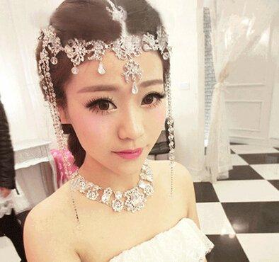 #3 Lady Tassel Hair Band Headdress Chain Rhinestone Diamond Wedding Bridal Head Wear Jewelry