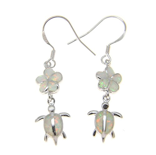 Inlay synthetic white opal sterling silver 925 Hawaiian plumeria flower honu turtle wire hook ()