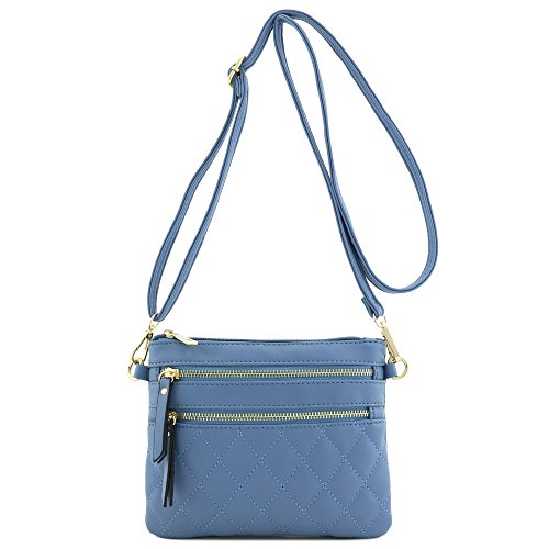 Blue Zipper Bag Multi Pocket Quilted Crossbody nwPax0qOAZ