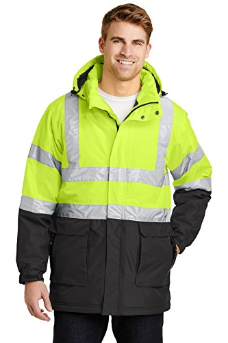 Port Authority Men's Big ANSI Class 3 Safety Heavyweight Parka - Safety Yellow/ Black/Reflective - Large
