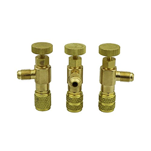 CSLU Brass R22 to R410 Refrigerant Can Bottle Tap Valve Opener Fluoride Tools, 1/4 SAE Thread to 5/16