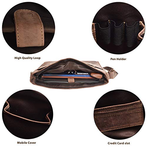 89027700312d Genuine Leather Messenger Bag for Men and Women - 14 inch Laptop Bag for  College Work