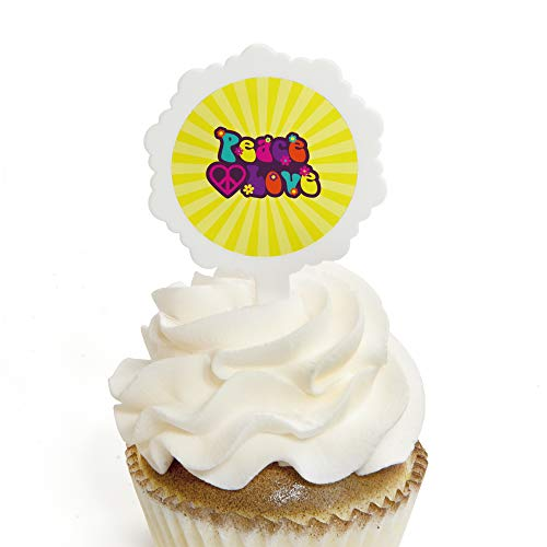 60's Hippie - Cupcake Picks with Stickers - 1960s Groovy Party Cupcake Toppers - 12 -
