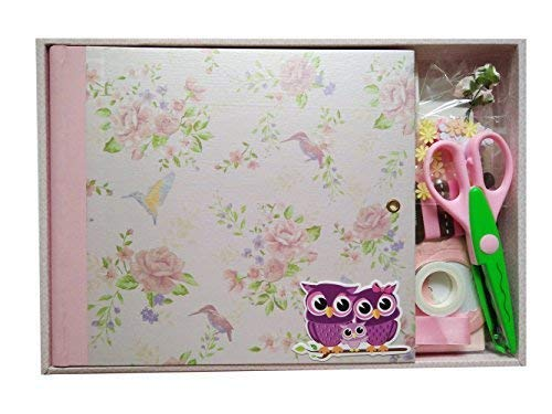 (IDULL Spiral Bound Starter Scrapbook Kits 8x8 for Girls (Pink))
