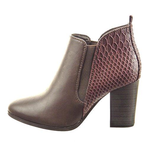 Sopily - Zapatillas de Moda Botines chelsea boots Tobillo mujer piel de serpiente Talón Tacón ancho alto 8 CM - Marrón