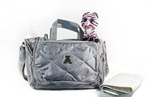 BL BABY - Elegance Collec. - SM - Crossbody Bag - Compart. - Nylon Material - Gray - 5x17x12'' by BL BABY (Image #2)