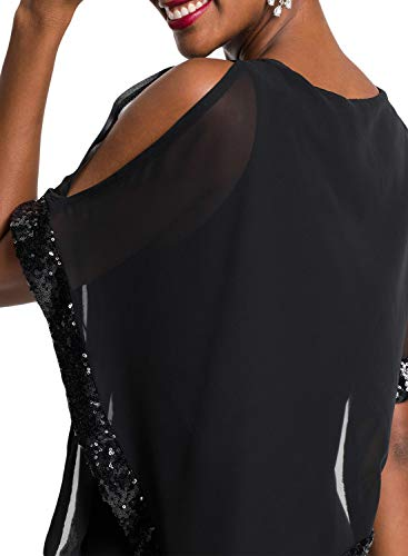 Party Off 378 Malaven Dress Dress Mermaid Shoulder Women's Black Low High Ruffled Sexy Dress nvtOx81v