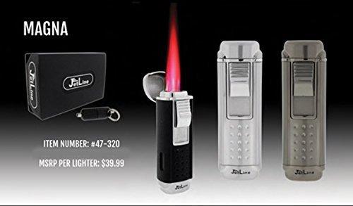 JetLine Magna Quad Torch Red Flame Lighter (Chrome Black) by JetLine Lighters