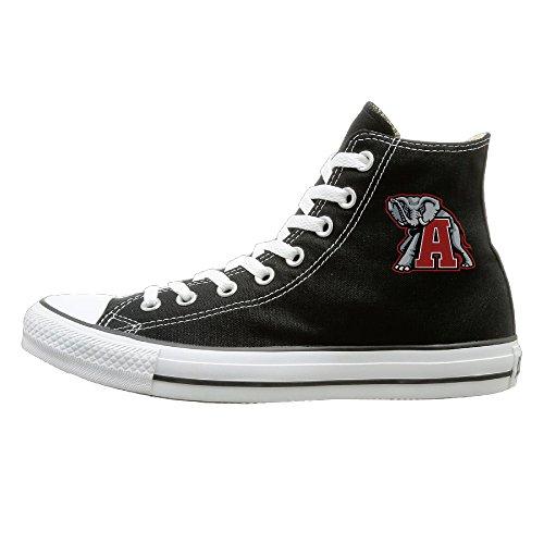 WS Unisex Classic University Of Alabama UA Crimson Tide Mascot Big Al Slip-On Shoes Black Size44