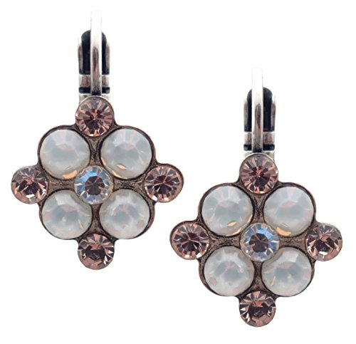 Mariana Kalahari Swarovski Crystal Silvertone Earrings White Opalescent & Silk Square 1078 (Square Kalahari)