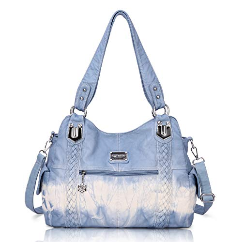 Angel Barcelo Roomy Fashion Hobo Womens Handbags Ladies Purse Satchel Shoulder Bags Tote Washed Leather Bag Blue