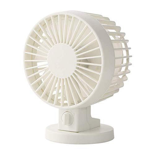 ZYZLM Silent Office Fan 4 Inch USB Small Table Fan with Twin Turbo, 2 Speed and Rotating Head Personal Fan for Office, Home,White