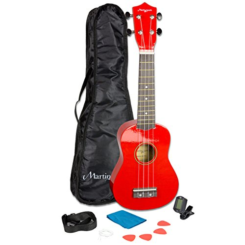 Martin Smith 21 Inch  Soprano Ukulele Starter Kit - Red, With Tuner, Bag, Plecs, Strap and 2 Months of Lessons