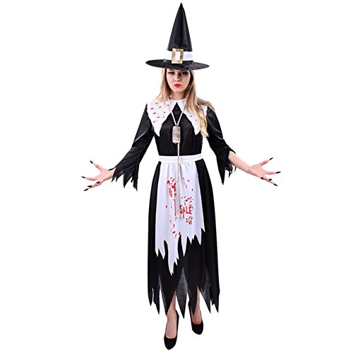 [Women's Incantasia, The Glamour Witch Costume (One Size, White/Black)] (Glamour Witch)