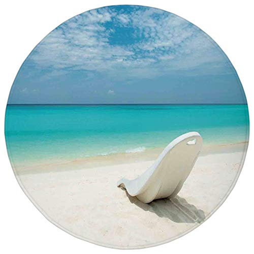 Round Rug Mat Carpet,Seaside Decor,Maldivian Beach Sun bed at the Seashore Sunny Day Travel Destination Picture,Turquoise Off White,Flannel Microfiber Non-slip Soft Absorbent,for Kitchen Floor Bathroo