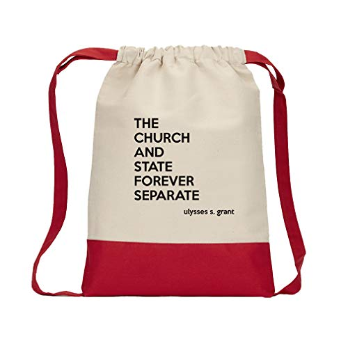 The Church And State Forever Separate (Ulysses S. Grant) Cotton Canvas Color Drawstring Bag Backpack - Red by Style in Print