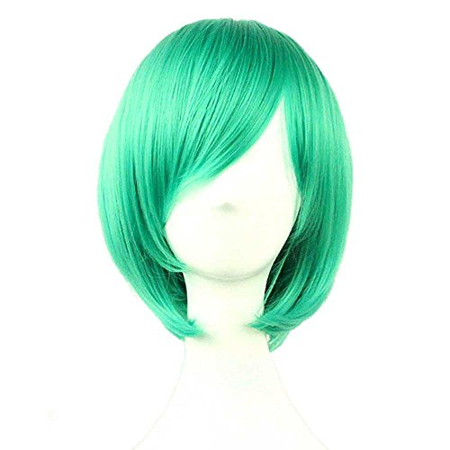 Bopocoko Wigs Short Bob Wig Green Straight Women Cosplay Wig Halloween Costume Girls Wigs Oblique Bangs 11 Inch BU029G