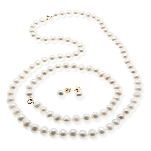 JewelExclusive 10K Yellow Gold 6-6.5MM White Chinese Freshwater Cultured Pearl Earring, Bracelet7.5
