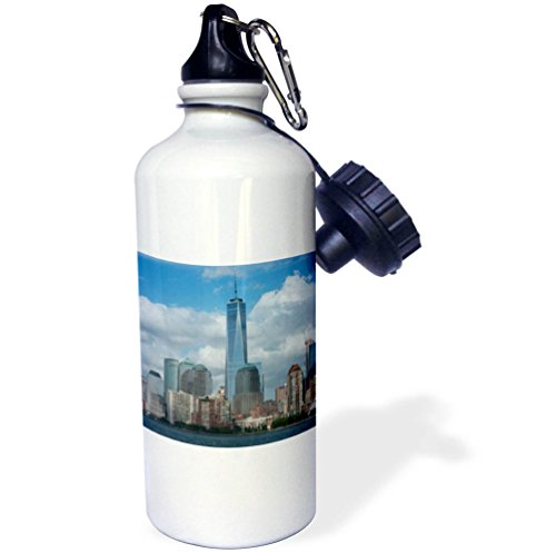 3dRose Danita Delimont - Cities - New York, New York City. Downtown skyline with the Freedom Tower. - 21 oz Sports Water Bottle - Downtown Water Tower