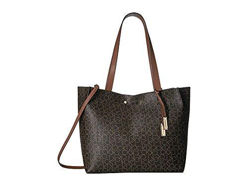 (Calvin Klein Women's Monogram Tote Brown/Khaki/Luggage One Size)
