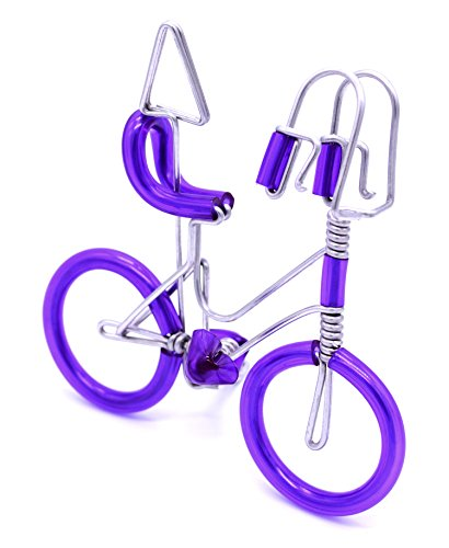 TRNS Handmade Wire Bicycle Aluminium Wire Art Sculpture Model for Showing Business Card Holders Photo Unique Metal Crafts Gift Art Birthday Christmas Tree Ornaments Decorations Artwork (Purple) (Complete Book Of Gourd Craft)