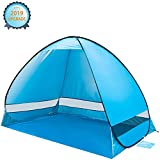 KeShi Pop up Beach Tent, Portable Beach Tent Sun Shelter, Waterproof Windproof Beach Canopy, Large Space Anti UV Beach Shade - Fit 3-4 Persons for Camping, Hiking, Canopy with Carry Bag(Blue)