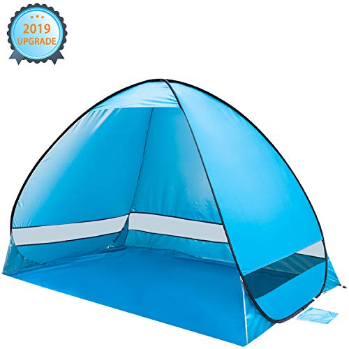 KeShi Pop up Beach Tent, Portable Beach Tent Sun Shelter, Waterproof Windproof Beach Canopy, Large Space Anti UV Beach Shade - Fit 3-4 Persons for Camping, Hiking, Canopy with Carry Bag(Blue) (Best Pop Up Shelter)