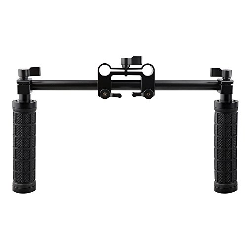 CAMVATE Handle Grips Front Handbar Clamp Mount for 15mm Rod Support System Shoulder Rig(Black) ()