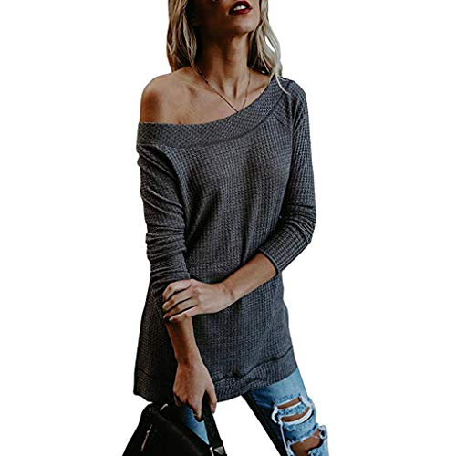 WOCACHI Blouses for Womens, Women Autumn Winter Long Sleeve Solid Knitted Sweater T Shirt Blouse Tops Girlfriend Boyfriend Gift Under 5 10 Fashion Newest Couples