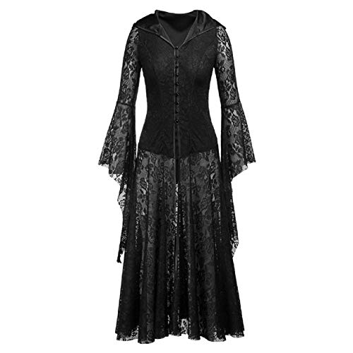 Diy Fringe Flapper Dress (Tsmile Women Halloween Dress in Black Hooded Lace Long Bell Sleeve Laced Pin Up Solid Ankle Length Party Prom)