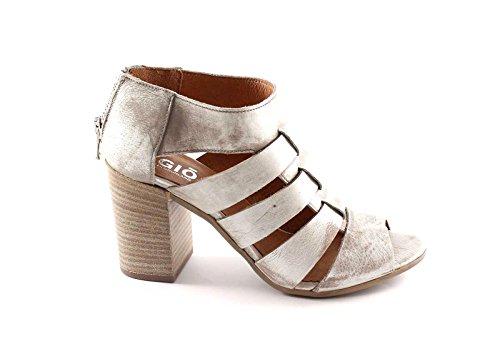 Grünland AULO SA1261 sandalias plateadas mujer postal talón de cuero del talón Grigio