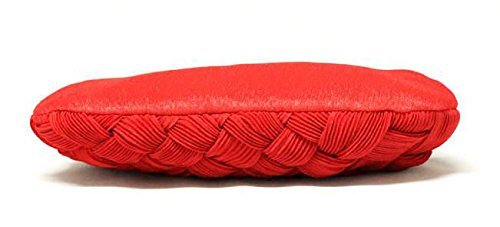 Evening studded Clutch Pleated Bridal Wedding Red Braided Rhinestone Womens Purse Bridesmaid and wTOCpq